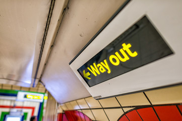 Way out sign on a underground station