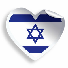 Heart sticker with flag of Israel isolated on white