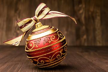 Christmas ball with ribbon bow