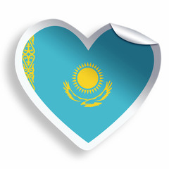 Heart sticker with flag of Kazakhstan isolated on white