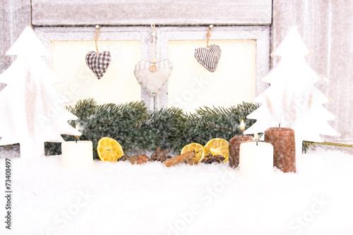 canvas print picture schneefenster mit kerzen