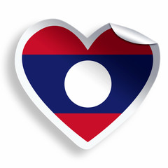 Heart sticker with flag of Laos isolated on white