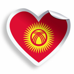 Heart sticker with flag of Kyrgyzstan isolated on white