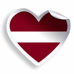 Heart sticker with flag of Latvia isolated on white