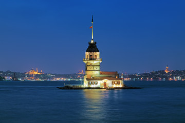 Evening view of Maiden's Tower in Istanbul, Turkey
