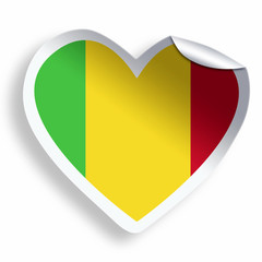 Heart sticker with flag of Mali isolated on white