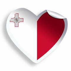 Heart sticker with flag of Malta isolated on white
