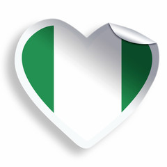 Heart sticker with flag of Nigeria isolated on white