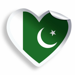 Heart sticker with flag of Pakistan isolated on white