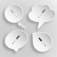 Ink pen and pencil. White flat vector buttons on gray background