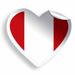 Heart sticker with flag of Peru isolated on white