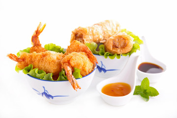 fried shrimp and spring roll