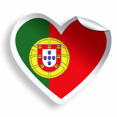 Heart sticker with flag of Portugal isolated on white
