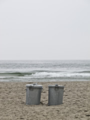 Trashcans at the beach