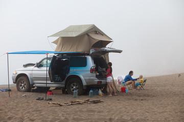 Foggy morning. Camping life