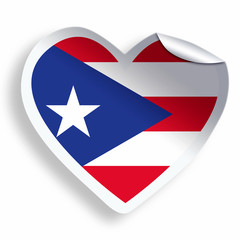 Heart sticker with flag of Puerto Rico isolated on white