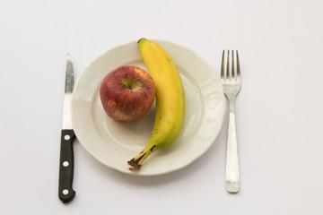 fruit diet, banana and apple