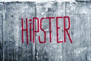Hipster Graffiti on Grunge Concrete Wall