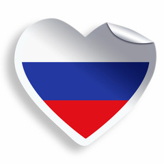 Heart sticker with flag of Russia isolated on white