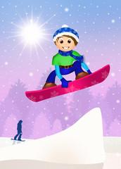 boy jumping on snowboard
