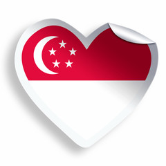 Heart sticker with flag of Singapore isolated on white