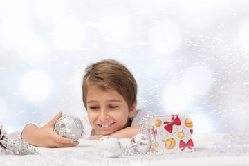 Portrait of a boy with Christmas decoration