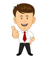 Cartoon Office Worker Smiling and Giving Thumbs Up