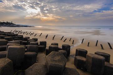 Tetrapod structure on the beach in Kinmen