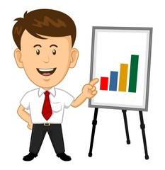 Cartoon Office Worker presentating a graph on easel board