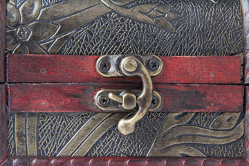 Close Up Old wooden chest