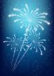 Shiny fireworks on blue background