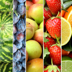 Collage different fruits and berries closeup
