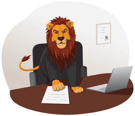 Lion businessman is working with documents in the office
