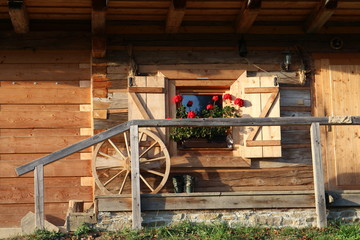 Porch with railing on timber hut in Beskydy, Czech republic