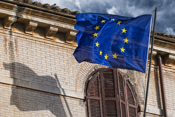 European waving blue flag in rome