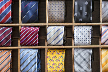 silk tie on display