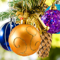 beautiful colorful Christmas decorations closeup