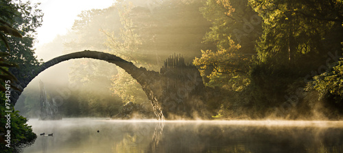 Poster Landschappen mystische Morgenstimmung
