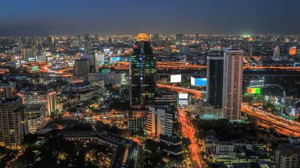 Traffic and transportation in Bangkok at night  (Timelapse)