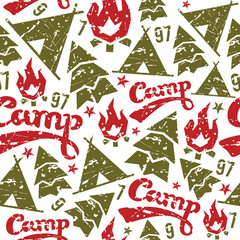 Camping seamless patterns