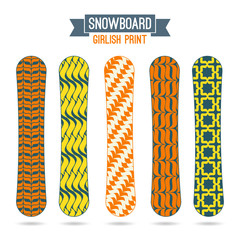 Girlish prints for snowboards