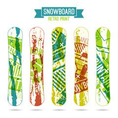 Retro print for snowboard