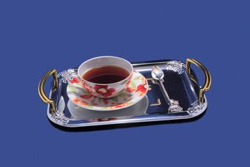 Tea service on a tray.