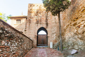 Muslim arch from Alcazaba of Malaga in Andalusia, Spain.