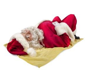 Santa claus sunbathing