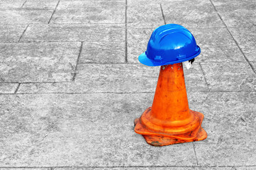 helmet on plastic cone