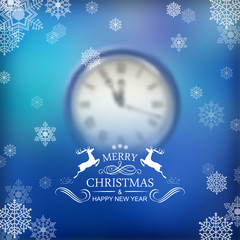 Vector Christmas Typography Clock Background