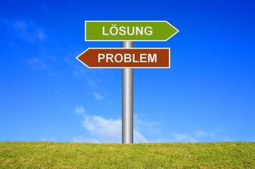 Schild Wegweiser: Problem Lösung