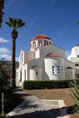 canvas print picture Kirche in Elounda, Kreta