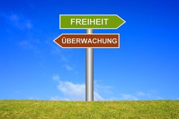 Schild Wegweiser: Freiheit / Überwachung